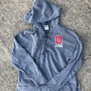 PINK OSU Ohio State Tie Front Pullover Hoodie